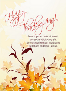 Vector Thanksgiving Background With Floral