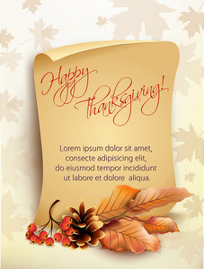 Vector Thanksgiving Background With Paper