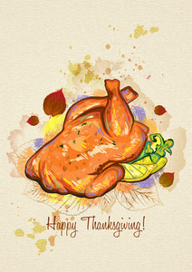 Vector Thanksgiving Illustration With Cooked Turkey