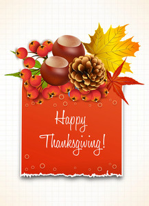 Vector Thanksgiving Illustration With Torn Cardboard