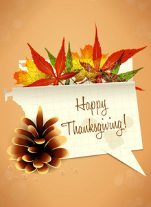 Vector Thanksgiving Illustration With Torn Paper