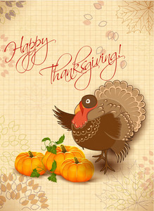 Vector Thanksgiving Illustration With Turkey