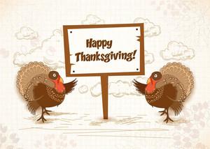 Vector Thanksgiving Illustration With Turkeys