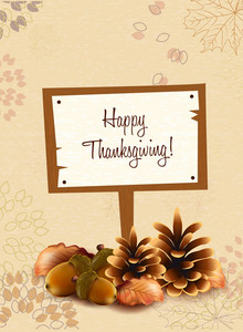 Vector Thanksgiving Illustration With Wood Sign