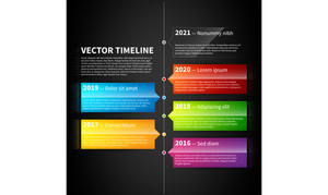 Vector Timeline Template With Colorful Glossy Tabs.