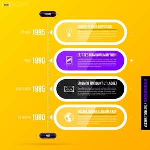 Vector Timeline Template With Glossy Transparent Elements On Bright Yellow Background In Modern Corporate Style. Eps10