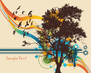 Vector Tree With Colorful Background