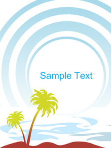 Vector Tropical Palm Trees Isolated On Blue Background Illustration