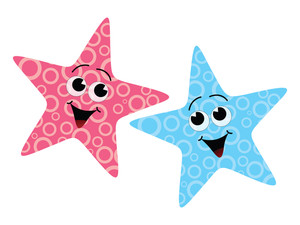 Vector Two Cute Starfish