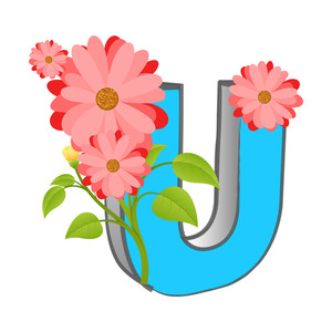 Vector U Alphabet With Flower