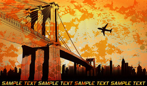 Vector Urban Background With Bridge