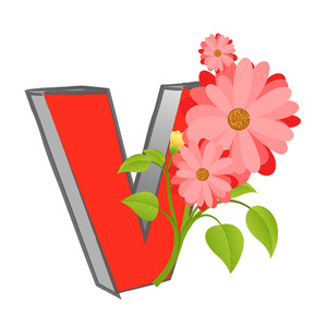 Vector V Alphabet With Flower