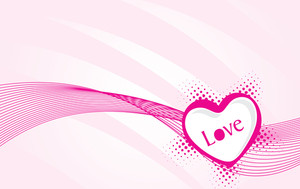 Vector Valentine Heart On Swirling Background