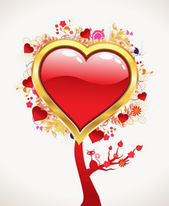 Vector Valentines Background With Abstract Tree