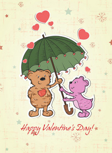 Vector Valentine's Background With Bears