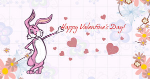Vector Valentine's Day Background With Bunny