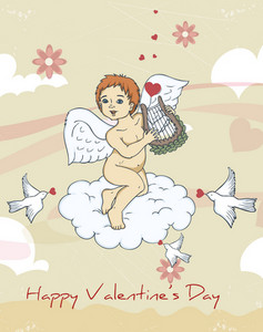 Vector Valentine's Day Background With Cupid