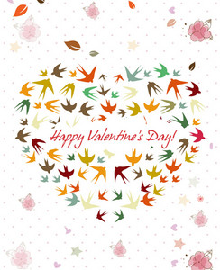 Vector Valentine's Day Background With Heart Made Of Birds