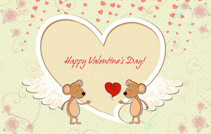 Vector Valentine's Day Background With Mouse