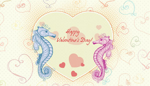 Vector Valentine's Day Background With Sea Creatures