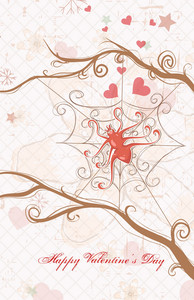 Vector Valentine's Day Background With Spider