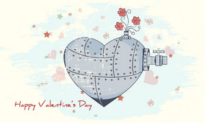Vector Valentine's Day Background With Tin Heart