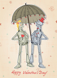 Vector Valentine's Day Background With Tin Man And Woman