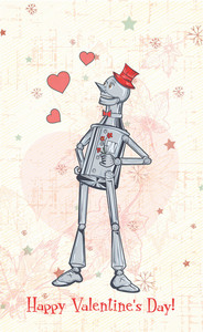 Vector Valentine's Day Background With Tin Man