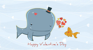 Vector Valentine's Day Background With Whale