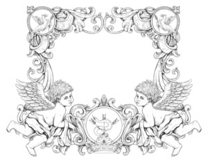 Vector Victorian Frame With Angels