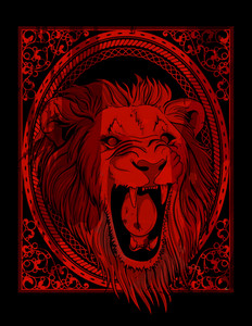Vector Vintage Backgorund With Lion