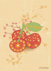 Vector Vintage Background With Cherries