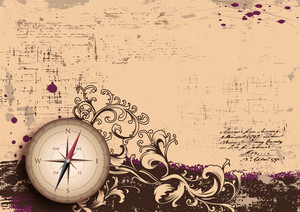 Vector Vintage Background With Compass