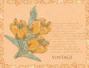 Vector Vintage Background With Floral