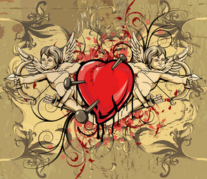 Vector Vintage Background With Heart And Angels