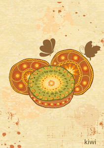 Vector Vintage Background With Kiwi