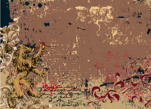 Vector Vintage Background With Lion