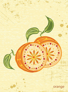 Vector Vintage Background With Oranges