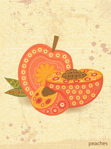 Vector Vintage Background With Peaches
