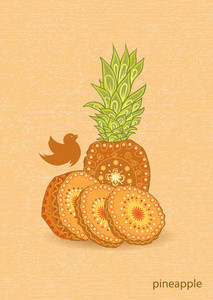 Vector Vintage Background With Pineapple