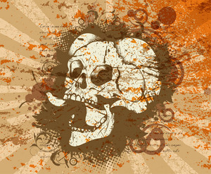 Vector Vintage Background With Skull