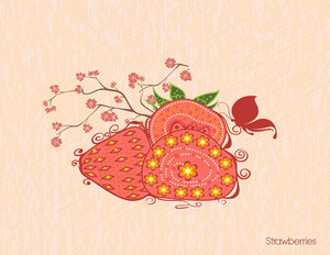 Vector Vintage Background With Strawberries