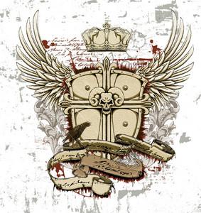 Vector Vintage Emblem With Crest