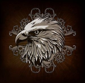 Vector Vintage Emblem With Eagle Head
