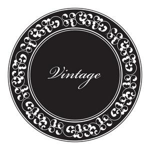 Vector Vintage Emblem With Floral