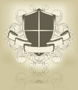 Vector Vintage Emblem With Scroll And Shield