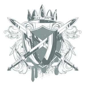 Vector Vintage Emblem With Shield And Crown