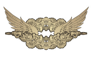 Vector Vintage Emblem With Wings And Floral