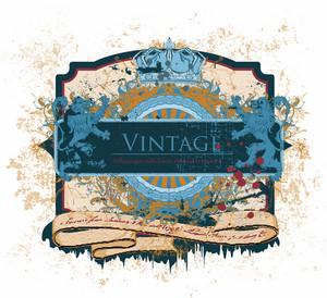 Vector Vintage Emblem Wtith Lions