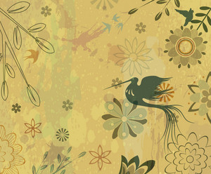Vector Vintage Floral Background With Bird